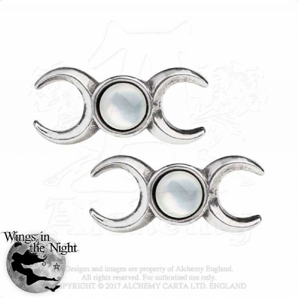 ALCHEMY GOTHIC Triple Moon Goddess Earrings